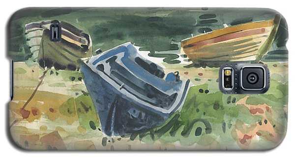 Galaxy S5 Case featuring the painting Three Boats by Donald Maier