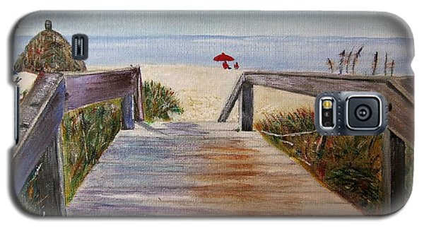 Galaxy S5 Case featuring the painting To The Beach by Marilyn  McNish