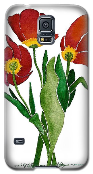 Galaxy S5 Case featuring the painting Tulip Trio by Nan Wright