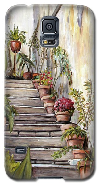Galaxy S5 Case featuring the painting Tuscan Steps by Melinda Saminski