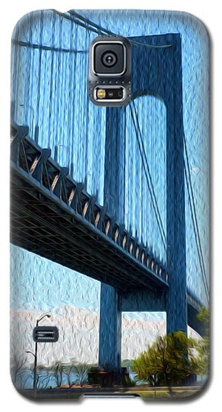 Galaxy S5 Case featuring the painting Verrazano Bridge by Boris Mordukhayev