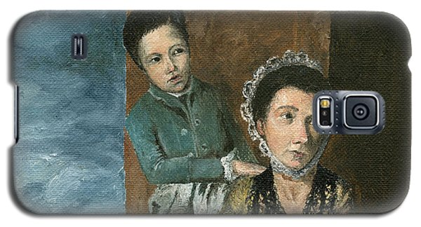 Galaxy S5 Case featuring the painting Vintage Mother And Son by Mary Ellen Anderson