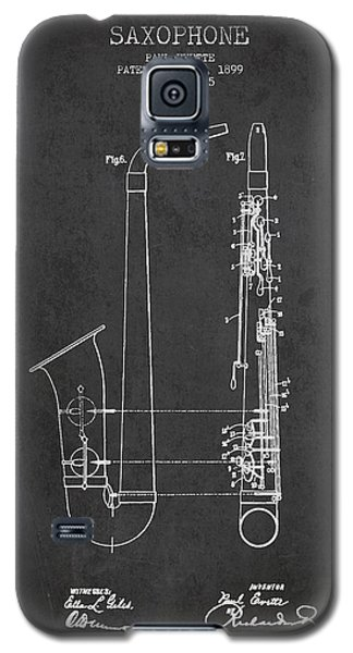 Saxophone Patent Drawing From 1899 - Dark Galaxy S5 Case by Aged Pixel