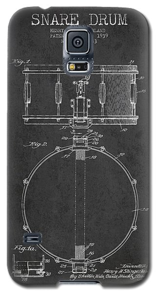 Drum Galaxy S5 Case - Snare Drum Patent Drawing From 1939 - Dark by Aged Pixel