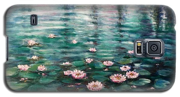 Galaxy S5 Case featuring the painting Water Lilies by Laila Awad Jamaleldin