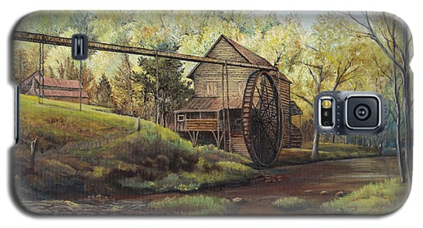 Galaxy S5 Case featuring the painting Watermill At Daybreak  by Mary Ellen Anderson