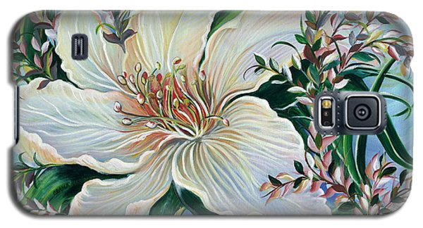 Galaxy S5 Case featuring the painting White Lily by Yolanda Rodriguez