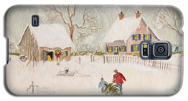 Winter Scene Of A Farm With People/ Digitally Altered Galaxy S5 Case