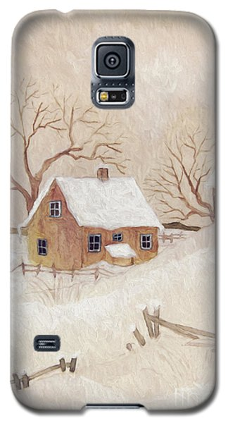 Winter Scene With Farmhouse/ Digitally Altered Galaxy S5 Case