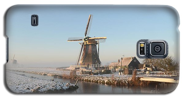 Winter Windmill Landscape In Holland Galaxy S5 Case