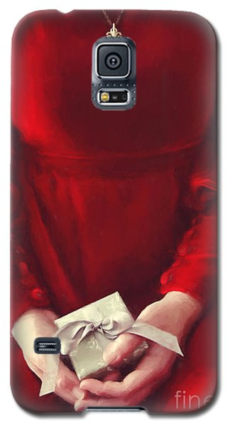 Woman In Red Dress Holding Gift/ Digital Painting Galaxy S5 Case