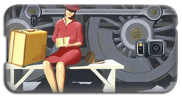 Woman With Locomotive Galaxy S5 Case by Gary Giacomelli