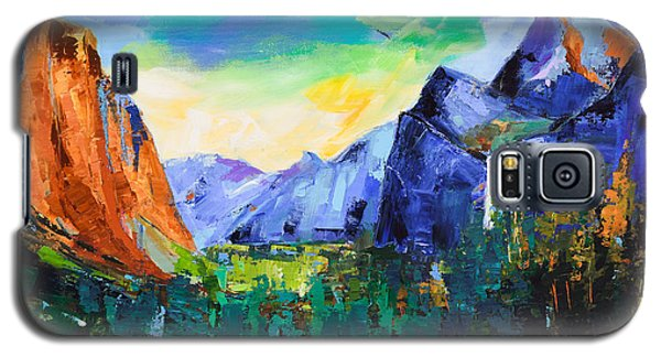Galaxy S5 Case featuring the painting Yosemite Valley - Tunnel View by Elise Palmigiani