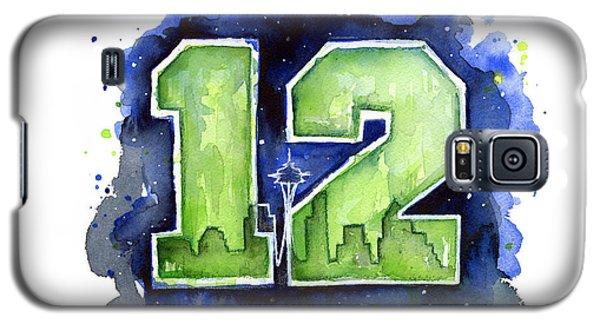 Watercolor Galaxy S5 Case - 12th Man Seahawks Art Seattle Go Hawks by Olga Shvartsur