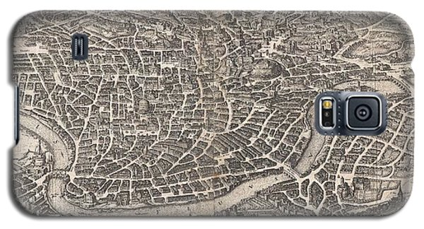 1652 Merian Panoramic View Or Map Of Rome Italy Galaxy S5 Case by Paul Fearn