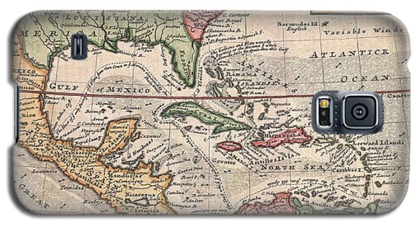 1732 Herman Moll Map Of The West Indies And Caribbean Galaxy S5 Case by Paul Fearn