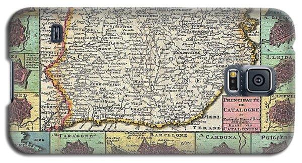 1747 La Feuille Map Of Catalonia Spain Galaxy S5 Case by Paul Fearn