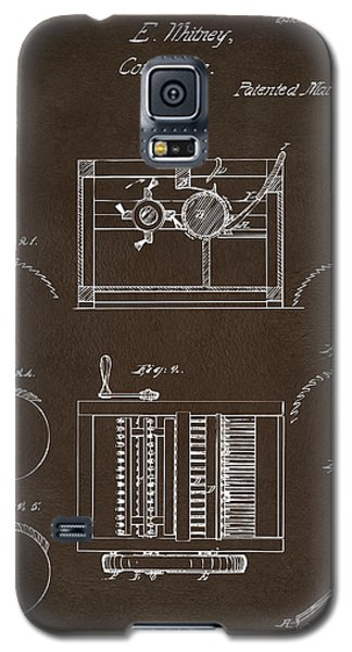 Galaxy S5 Case featuring the drawing 1794 Eli Whitney Cotton Gin Patent Espresso by Nikki Marie Smith