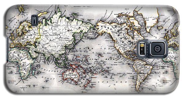 Galaxy S5 Case featuring the photograph 1850 Antique World Map Welt Karte In Mercators Projektion by Karon Melillo DeVega