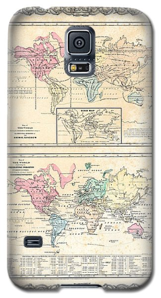 Galaxy S5 Case featuring the photograph 1855 Antique First Plate Ortelius World Map Animal Kingdom World Commerce And Navigation by Karon Melillo DeVega