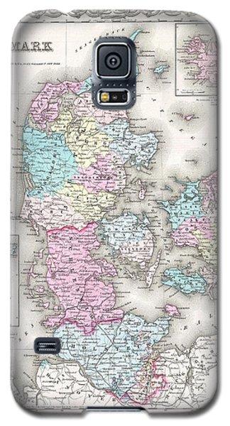 1855 Colton Map Of Denmark Galaxy S5 Case by Paul Fearn