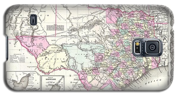 1855 Colton Map Of Texas Galaxy S5 Case by Paul Fearn