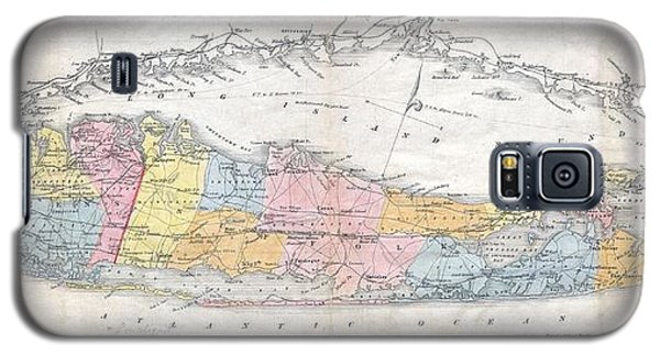 1857 Colton Travellers Map Of Long Island New York Galaxy S5 Case by Paul Fearn