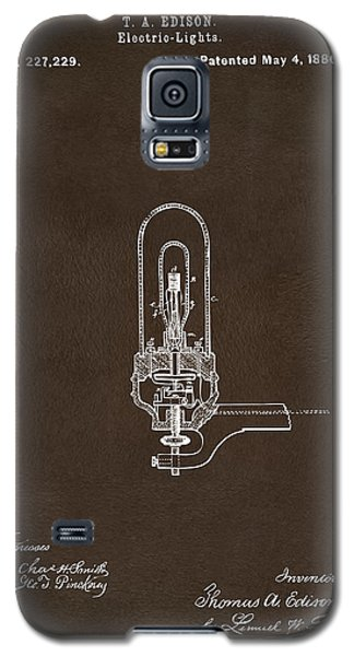 Galaxy S5 Case featuring the drawing 1880 Edison Electric Lights Patent Artwork Espresso by Nikki Marie Smith
