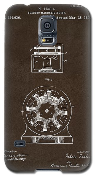 Galaxy S5 Case featuring the drawing 1890 Tesla Motor Patent Espresso by Nikki Marie Smith