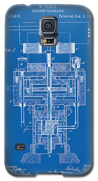 Galaxy S5 Case featuring the drawing 1894 Tesla Electric Generator Patent Blueprint by Nikki Marie Smith