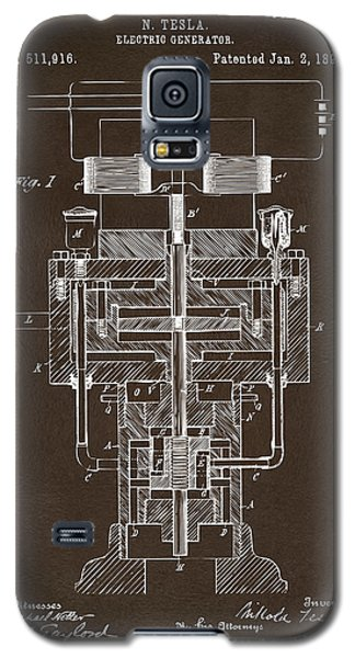 Galaxy S5 Case featuring the drawing 1894 Tesla Electric Generator Patent Espresso by Nikki Marie Smith