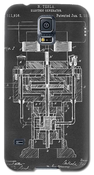 Galaxy S5 Case featuring the drawing 1894 Tesla Electric Generator Patent Gray by Nikki Marie Smith