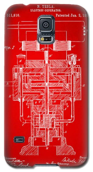 Galaxy S5 Case featuring the drawing 1894 Tesla Electric Generator Patent Red by Nikki Marie Smith