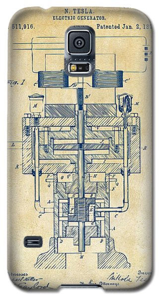 Galaxy S5 Case featuring the drawing 1894 Tesla Electric Generator Patent Vintage by Nikki Marie Smith