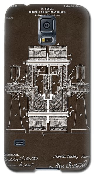 Galaxy S5 Case featuring the drawing 1898 Tesla Electric Circuit Patent Artwork Espresso by Nikki Marie Smith