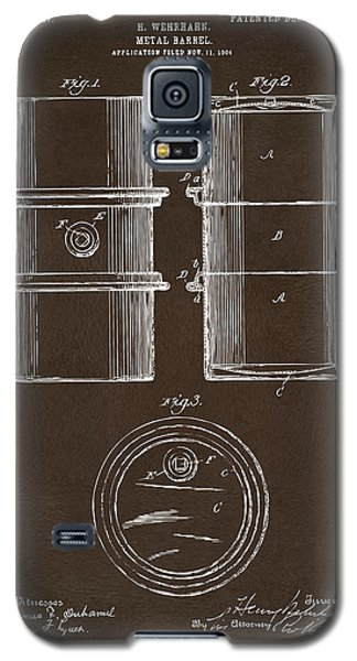 Galaxy S5 Case featuring the drawing 1905 Oil Drum Patent Artwork Espresso by Nikki Marie Smith