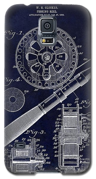 1906 Fishing Reel Patent Drawing Blue Galaxy S5 Case