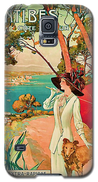Galaxy S5 Case featuring the mixed media 1910 Antibes Vintage Travel Art  by Presented By American Classic Art
