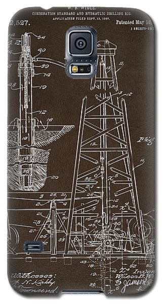 Galaxy S5 Case featuring the drawing 1911 Oil Drilling Rig Patent Artwork - Espresso by Nikki Marie Smith
