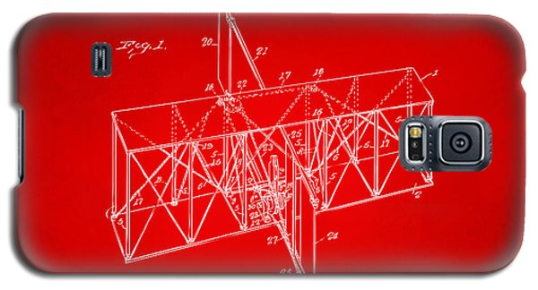 Galaxy S5 Case featuring the drawing 1914 Wright Brothers Flying Machine Patent Red by Nikki Marie Smith