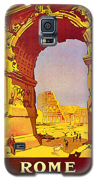 Galaxy S5 Case featuring the mixed media 1921 Rome - Vintage Travel Art by Presented By American Classic Art