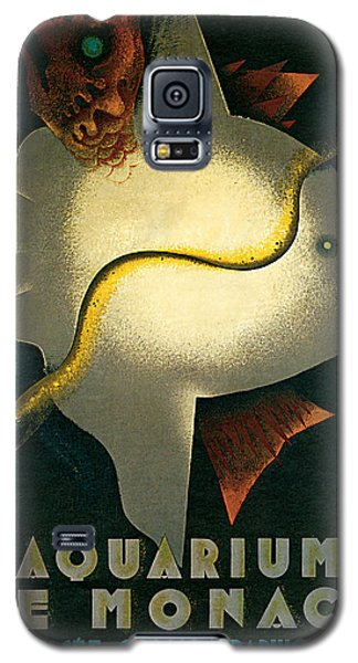 Galaxy S5 Case featuring the mixed media 1926 Aquarium De Monaco Vintage Travel Art by Presented By American Classic Art