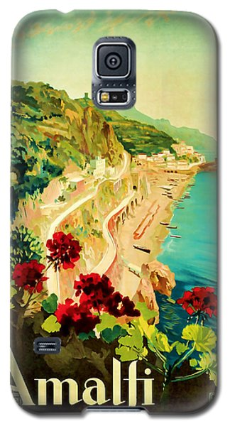Galaxy S5 Case featuring the mixed media 1927 Amalfi Italy Vintage Travel Art by Presented By American Classic Art
