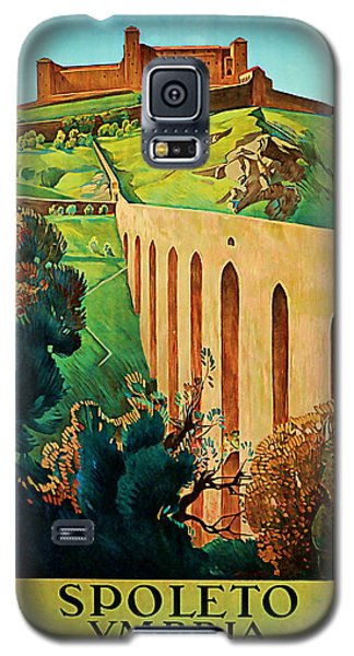 Galaxy S5 Case featuring the mixed media 1927 Spoleto Vintage Travel Art by Presented By American Classic Art