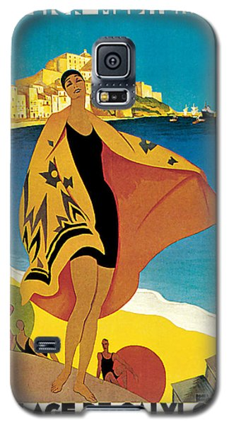 Galaxy S5 Case featuring the mixed media 1928 La Plage De Calvi - Vintage Travel    Art by Presented By American Classic Art