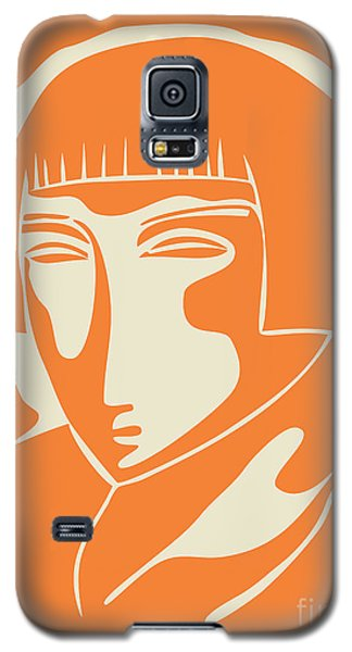 1928 Woman Face   Orange Galaxy S5 Case
