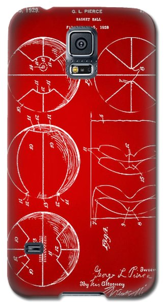 1929 Basketball Patent Artwork - Red Galaxy S5 Case by Nikki Marie Smith