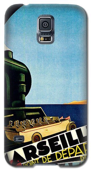 Galaxy S5 Case featuring the mixed media 1929 Marseille Point De Depart Cote D Azur - Vintage Travel Art by Presented By American Classic Art