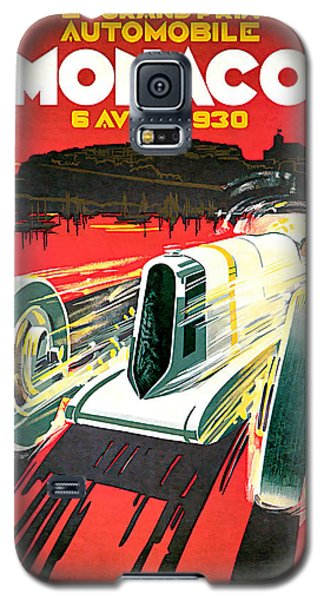 Galaxy S5 Case featuring the mixed media 1930 Monaco Grand Prix Vintage Car Art by Presented By American Classic Art