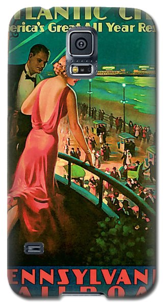 Galaxy S5 Case featuring the mixed media 1935 Atlantic City Vintage Travel Art by Presented By American Classic Art